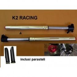 Forcelle k2 + parasteli ANTERIORI regolabili per pit bike sospensioni racing ammortizzatori