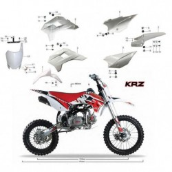 CARENE PLASTICHE KRZ PIT BIKE CROSS KAYO BIANCHE KIT COMPLETO