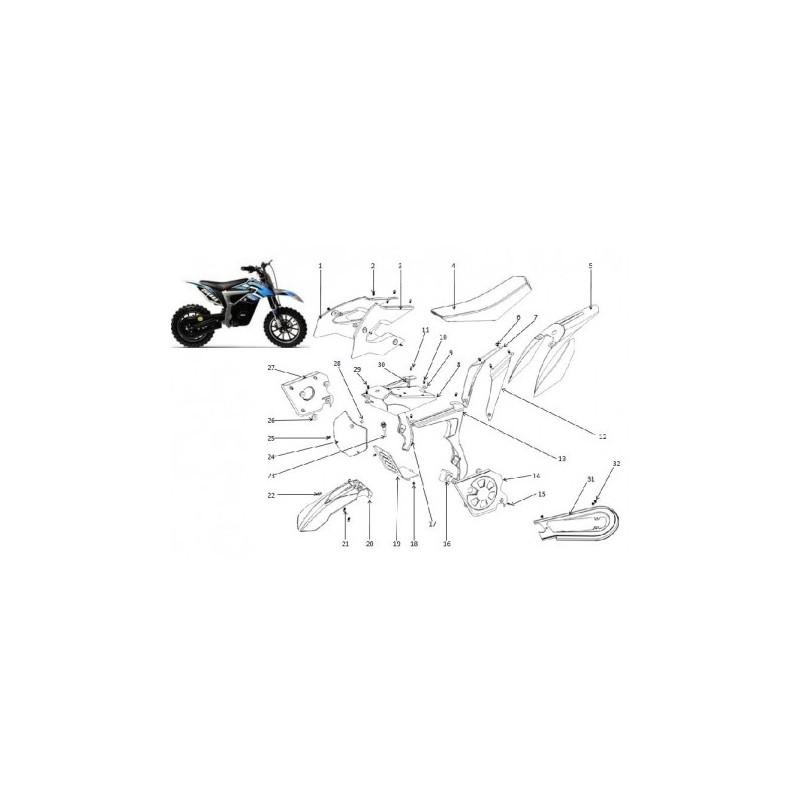 set PLASTICHE COVER CARENE MINICROSS ELETTRICO LION parafango laterali anteriori posteriori