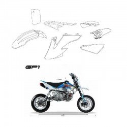 CARENE PLASTICHE GP1 SUPERMOTO KAYO PIT BIKE MOTARD BIANCHE KIT COMPLETO
